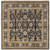 1.5' x 1.5' Floral Black and Beige Hand Knotted Square Wool Area Throw Rug - IMAGE 1