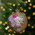 """2-Finish Pink Floral Applique Glass Christmas Ball Ornament 4"""" (100mm) - IMAGE 2"""