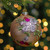 """4.5"""" Pink Floral Applique Glass Ball Christmas Ornament - IMAGE 2"""