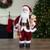 2' Traditional Santa Christmas Figure with a Plush Brown Bear - IMAGE 1