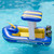 """67"""" Blue and Yellow Harbor Master Patrol Boat with Pump Squirter Swimming Pool Float - IMAGE 2"""