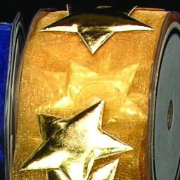 Gold Stars On Gold Organza Craft Ribbon 2 X 10 Yards Christmas Central
