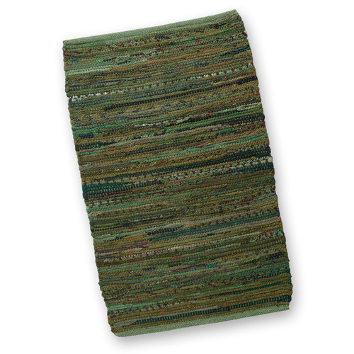 2' X 3' Hand Woven Olive Green Cotton Chindi Are Throw Rug