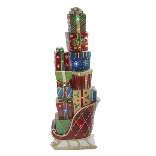 """Commercial Grade Christmas Decorations: 60"""" LED Lighted Commercial Grade Sleigh Stacked With"""