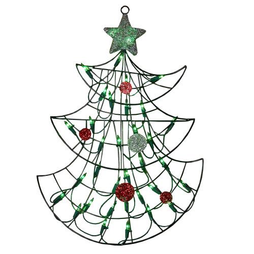 19 Lighted Christmas Tree With Silver Tinsel Star Window Or Wall Silhouette Decoration 31728770