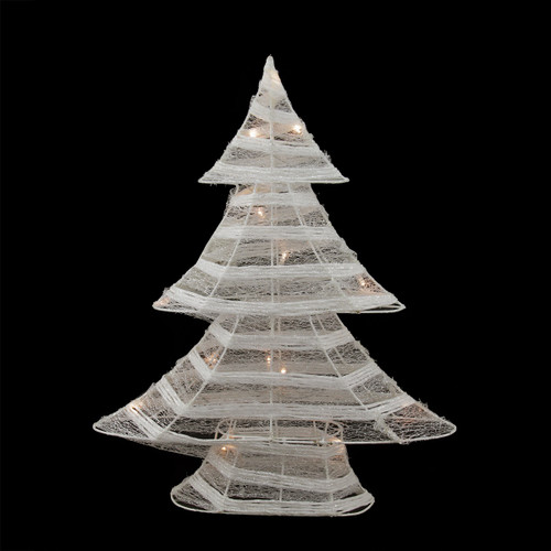 """Table Top Lighted Christmas Tree: 18.5"""" Battery Operated White & Silver Glittered LED"""