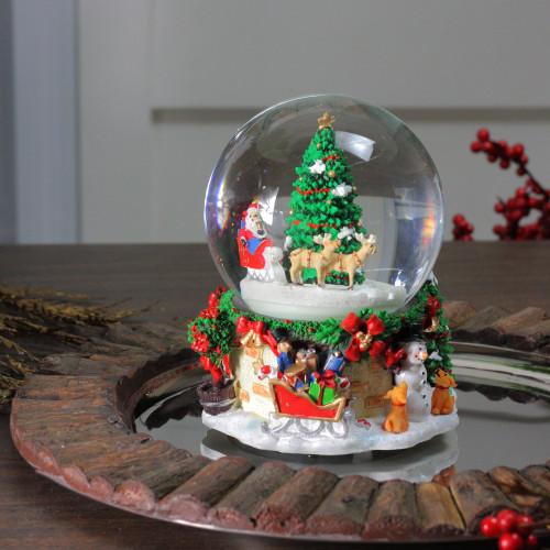 """Snowing And Musical Christmas Tree: 6.75"""" Musical & Animated Santa On Sleigh Rotating"""