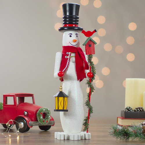 "18"" White, Red & Silver Glittered Wooden Christmas Snowman ..."