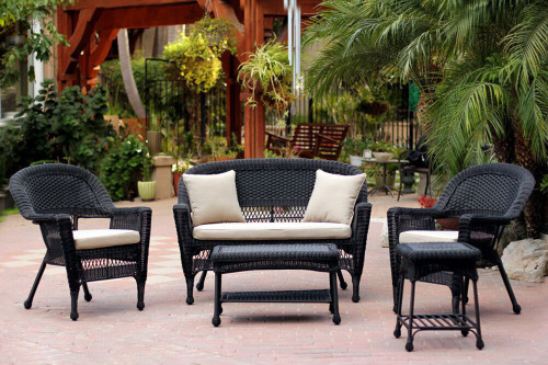 Terrific 5 Piece Black Resin Wicker Patio Chair Loveseat Table Furniture Set Tan Cushions 31556390 Alphanode Cool Chair Designs And Ideas Alphanodeonline