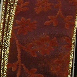 Brown Satin With Velvet Floral Pattern Wired Craft Ribbon 2 X Yards Christmas Central