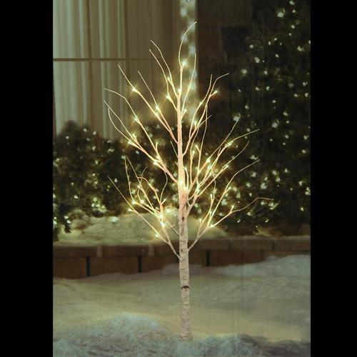 "Outdoor White Twig Christmas Tree: 4"" Pre-Lit Warm White LED Lighted Christmas Twig White"