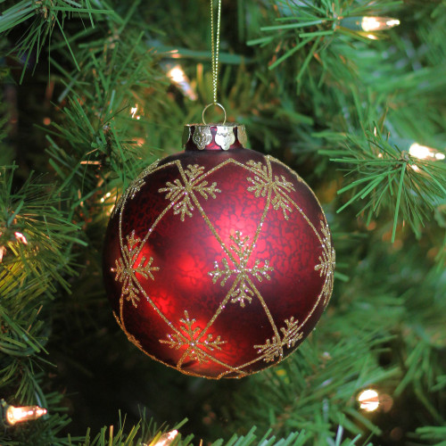 Burgundy Red with Gold Glitter Snowflakes Mercury Glass ...