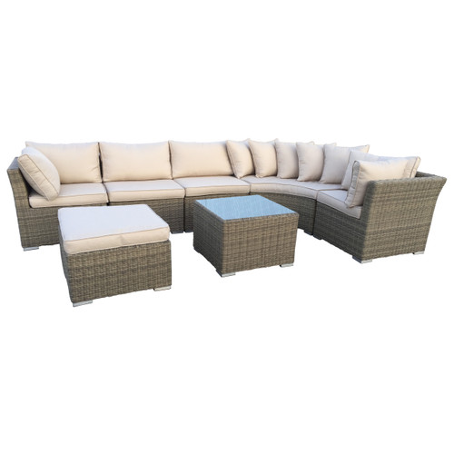 7 Piece Borneo All Weather Resin Wicker Chat Set W Gray Cushions Christmas Central