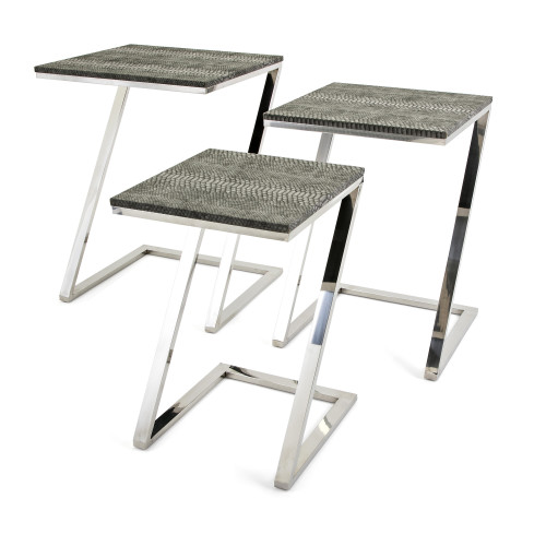Set Of 3 Black And Silver Colored Contemporary Patterned Side Table With Z  Shaped Stand 24.5 ...