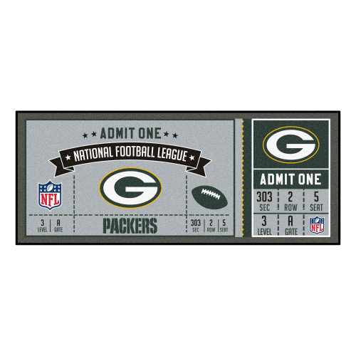 Nfl Green Bay Packers Ticket Non Skid Mat Area Rug Runner