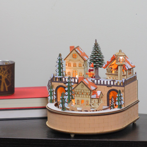 "8.75"" Rustic Wooden Laser Cut Musical Animated Village"