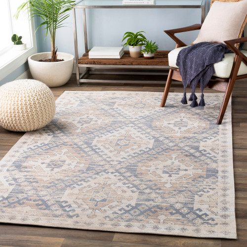 8' x 10' Ikat Pattern Brown and Beige Rectangular Hand Woven  Chenille-Cotton Area Throw Rug - 33417568