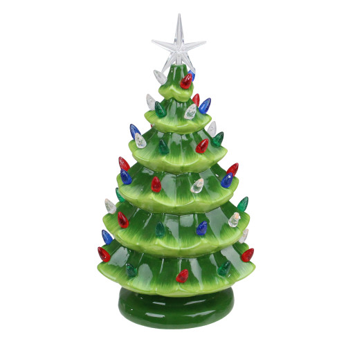 "12.5"" LED Lighted Retro Table Top Christmas Tree with Star Topper"