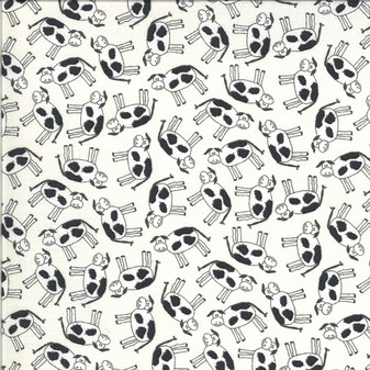 Animal Crackers  by Sweetwater Fabrics - Cows Toss in Vanilla
