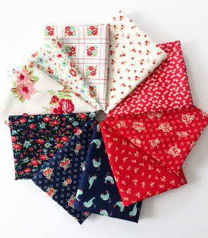 Bonnie and Camille MashUp Patriotic Fat Quarter bundle - 10 FQs - Red, White, and Blue