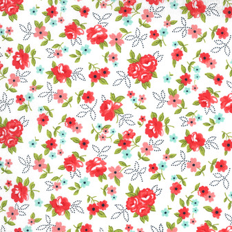 Sunday Stroll Small Red Floral Toss on White by Bonnie And Camille