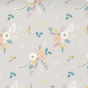 Little Ducklings Floral Bouquet on Warm Grey by Paper & Cloth
