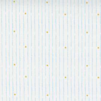 Little Ducklings - Blue Broken Lines - Stripes and Stars  on White by Paper & Cloth