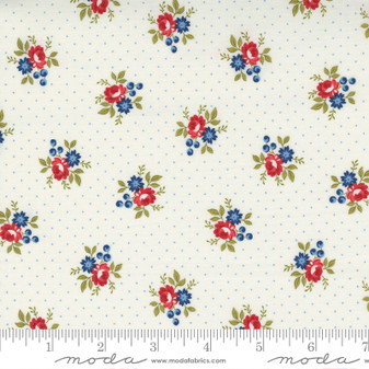 Belle Isle by Minick & Simpson - Americana Floral Sprigs on Blue Pindot