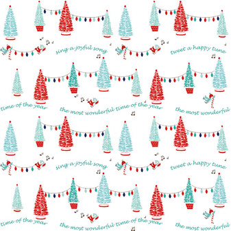 Original Pixie Noel - Pixie Trees White - Half Yard