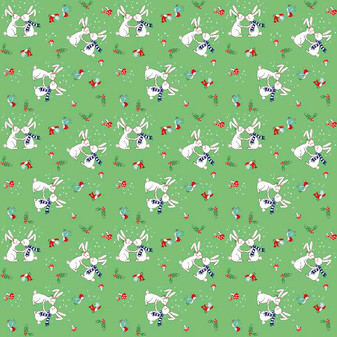 Original Pixie Noel - Pixie Bunnies Green - Half Yard