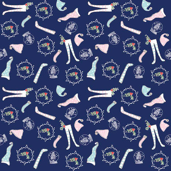 Original Pixie Noel - Pixie Socks Navy - Half Yard