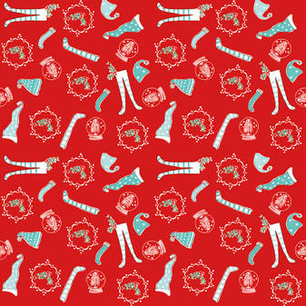 Original Pixie Noel - Pixie Socks Red - Half Yard