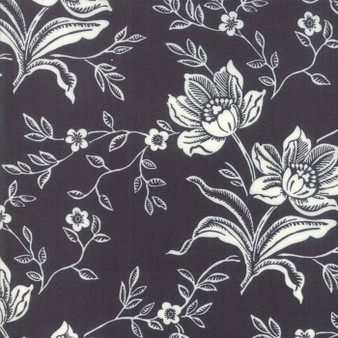 All Hallows Eve Woodblock Floral Midnight Black