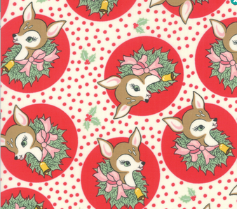 Deer Christmas Polka Dot Deer in Peppermint