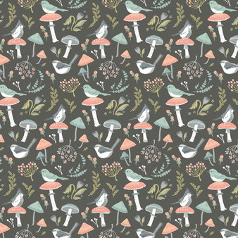 Woodland Songbirds - Songbirds in Charcoal - by Sheri McCulley for Poppie Cotton