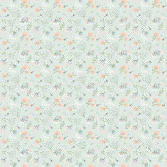 Woodland Songbirds - Floral Toss in Mint - by Sheri McCulley for Poppie Cotton