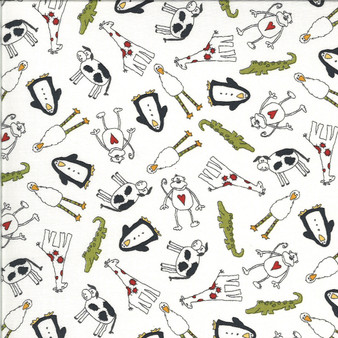 Animal Crackers  by Sweetwater Fabrics - Animals Toss in Vanilla