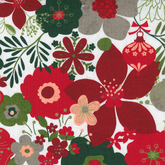 """5 YARD BACKING - Hustle and Bustle """"Carol's Modern Floral"""" with White Background"""