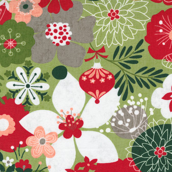 """5 YARD BACKING - Hustle and Bustle """"Carol's Modern Floral"""" with Soft Pear Green Background"""