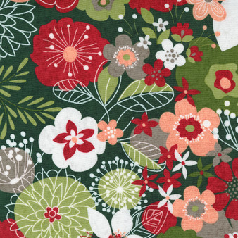 """5 YARD BACKING - Hustle and Bustle """"Carol's Modern Floral"""" with Dark Pine Green  Background"""