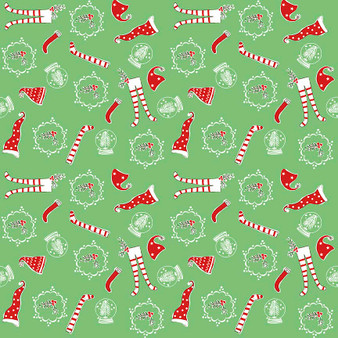 Original Pixie Noel - Pixie Socks Green - Half Yard