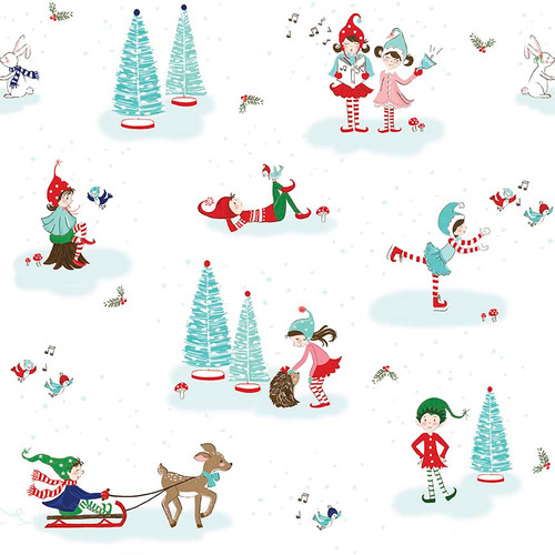 Original Pixie Noel - Pixie Main White - Half Yard