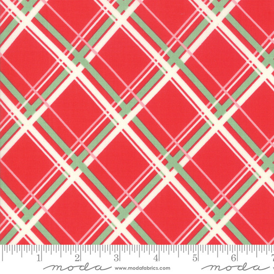 Deer Christmas  Plaid in Peppermint