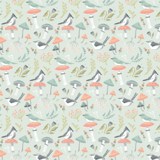 Woodland Songbirds - Songbirds in Mint - by Sheri McCulley for Poppie Cotton