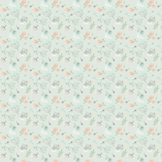 Woodland Songbird - Floral Toss in Mint - by Poppie Cotton