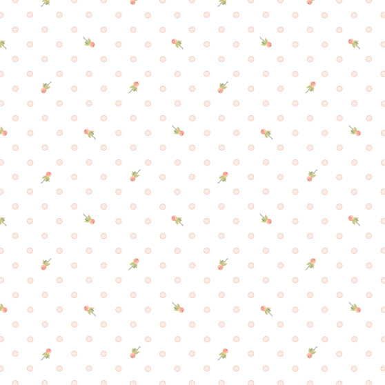 Woodland Songbird - Berry Dot on White - by Poppie Cotton