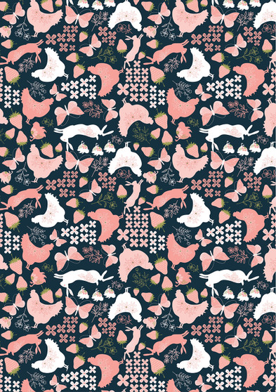 Daisy Mae - Country Life in Navy - by Poppie Cotton