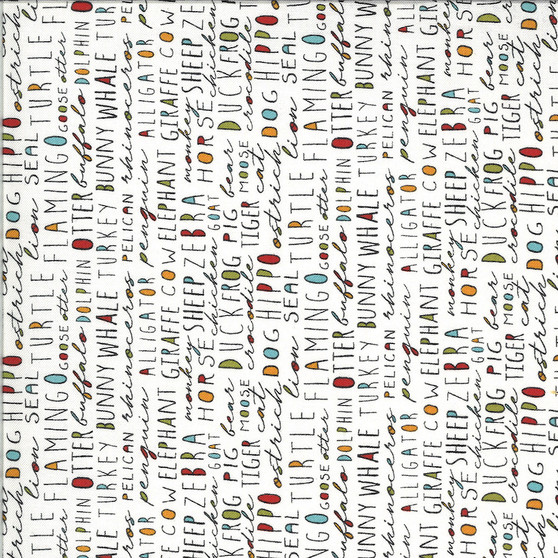Animal Crackers  by Sweetwater Fabrics - Animal Names Text in Vanilla