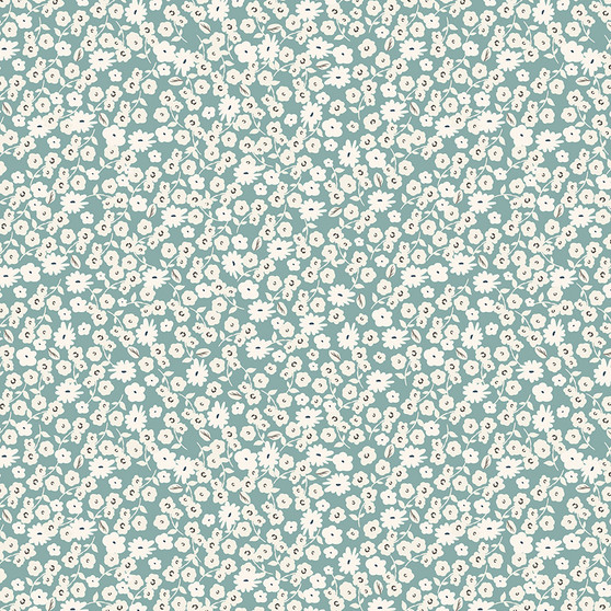Gingham Gardens Blossoms in Teal by My Mind's Eye