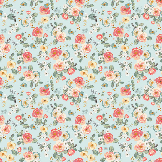 Gingham Gardens Floral in Aqua by My Mind's Eye